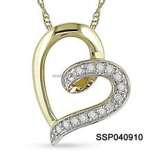 10k Yellow Gold Diamond Heart Necklace Jewels