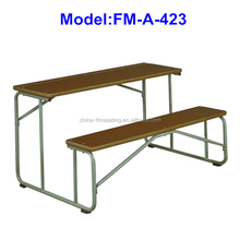 FM-A-423 Steel frame and wood student desk attached chair
