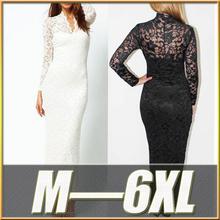 Cheap Plus Size Women Clothing 2014 Women Summer Chiffon Ladies Long Lace Evening Dress