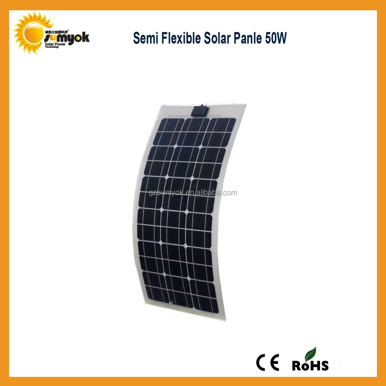 50 w flexible rv panneau solaire syst me semi flexible panneau solaire avec mono cellules. Black Bedroom Furniture Sets. Home Design Ideas