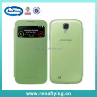 leather hybrid window view case for Samsung s4