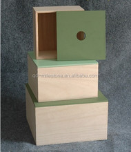 home small decoration and collection use balsa wood storage box