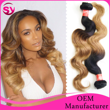 "2015 New Arrival Brazilian Virgin Hair, Top Quality 8""-32"" Body Wave Ombre Color T1B/27 Virgin Brazilian Human Hair Extension"
