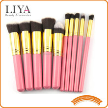 OEM Professional Pink Make Up Brushes 10 with soft synthetic hair