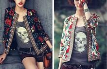 EY0022A 2015 new design women printing jacket blazer jacket ladies 3/4 sleeve slim Autumn jacket