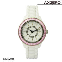 2014 popular style promotion alloy case wrist leather fashion gift lady crystal watch