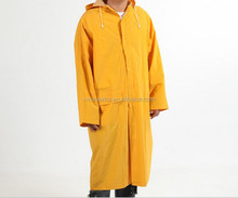 long pvc rain coat waterproof yellow rain poncho , raincoat