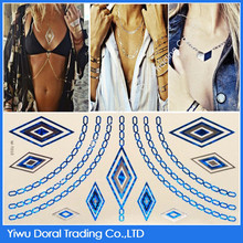 Jewelry Necklace Waterproof Temporary Blue Tattoo Sticker for Summer Fashion Girl