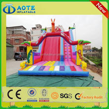 Design stylish red inflatable moonwalk with slide