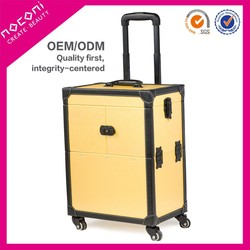 Noconi 2015 yellow best selling aluminum makeup case with wheels for Make-up artist