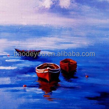 best price stretchable landscape canvas oil painting boats