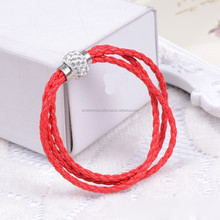 Magnetic clay ball clasp layers woven leather cord pu bracelet