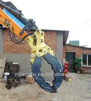 Excavator hydraulic rotating grapple wood