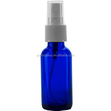 High Grade Cobalt Blue Boston Round Glass Bottle 1 oz with White Atomizer for Beauty Industry