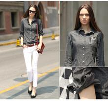 women fashion denim blouse 2015 new design ladies casual tops