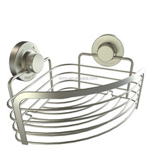 18/8 stainless steel metal chrome suction wall mounted bathroom corner sundires holder corner storage basket bath accessories