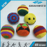 promotional woven knitted hacky sack, juggling ball