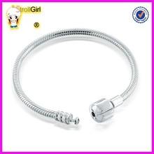 fashion DIY bracelet_925 silver snake chain bracelt_silver beads charm bracelet