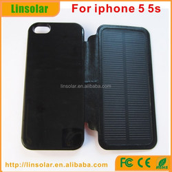 For iphone 5 5s, Hot Selling 2800mAh Solar Power Case Leather Material High Quality Solar Power Caser