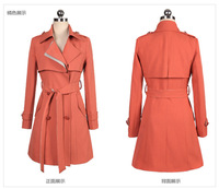 Charming prety Women's orange Maxi Coat,spring autumn overcoat