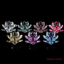 Crystal flower lotus paper weight wedding giveaway gift wholesale Elegant wedding gifts for guests For Fengshui Lotus Mementos