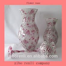 rosa estilo antigo mosaico design vaso de vidro barato para a decoração do casamento