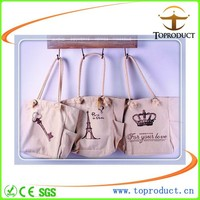 high quality plain white cotton canvas tote bag with outside pockets
