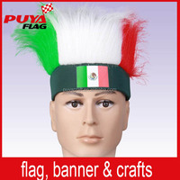 custom elastic synthetic fiber Mexico colors headband fans wig, wholesale Mexican sport fans wig for football games