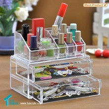 Online Shopping India New Product Clear with 2 Drawers Acrylic Makeup Storage Display