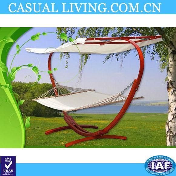 Jardin en bois hamac avec arc support et double soleil lit for Arc de jardin en bois