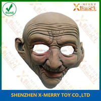 X-MERRY Old Man Latex Mask Scary Mens Halloween Party Costume Movie Probs full head mask