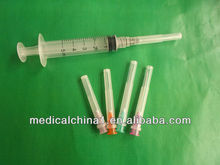 2014 hot sale 3 part disposable syringe with high qaulity needle for clinical/medical/hospital use for bulk sale