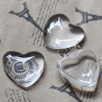 25MM transparent heart shape glass cabochon,pendant setting cabochon4130004
