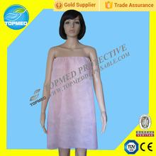 Salone di bellezza senza spalline morbide usa e getta, bianco/rosa bathgowns con elastico