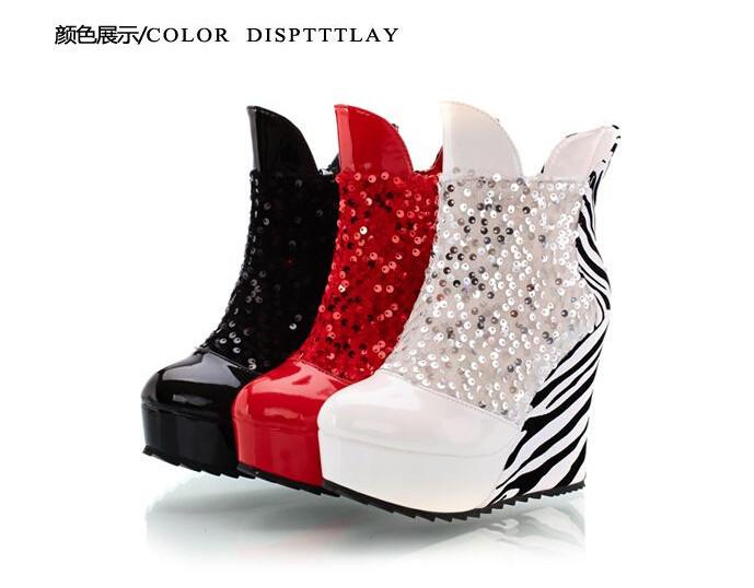 New Height Increasing Inside Warm High Heel Boots Sexy Zebra-stripe