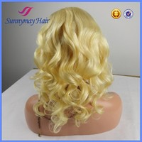Store sell blonde Indian human hair wigs curly glueless full lace wigs