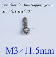 Pan Head Triangle Drive Self Tapping Screw, M3*11.5mm, SS 304