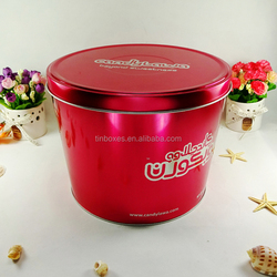 High-end fashion custom round plain tin container for candy