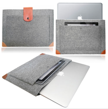Handmade Gray Felt Case Leather Bottom Bag Sleeve with Leather Strap Magnetic Button for Apple 13 MacBook