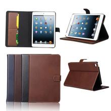 Wholesale Genuine Leather Case for ipad mini 4, for iPad mini 4 credit card flip stand leather case