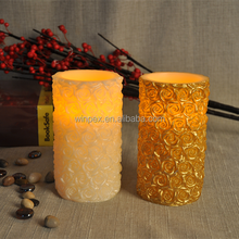 Gift&Decor Terrific Rose Carved Wax Amber Flickering Flameless LED Candles