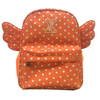 Orange dot printed small rucksack backpack with wings of an angel