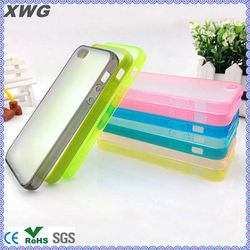 tpu bumper + matte pc backside transparent case for iphone 5 for iphone5
