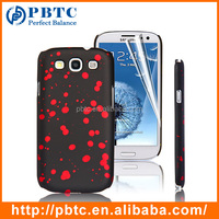 Set Screen Protector And Case For Samsung Galaxy S3 I9300 , Red Paint Point Hard Plastic Case For Samsung S3
