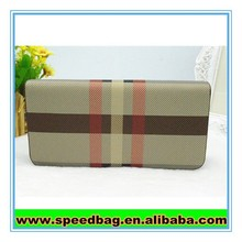 Big grid England style long wallet cheap brand wallet