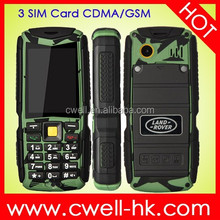 Outdoor rugged CDMA 800MHz GSM 3 sim card mobile phones Land rover M12