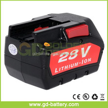 28V Li-Ion power tool battery for Milwaukee V28 48-11-2830 Cordless drills Battery Pack with Samsung cells