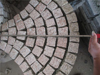 Chinese G682 granite paving exterior pavement stone on net garnite net paste for garden