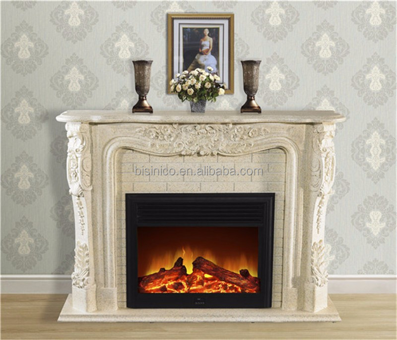 Massive Stone Carving Electric Fireplace Nouveau Indoor