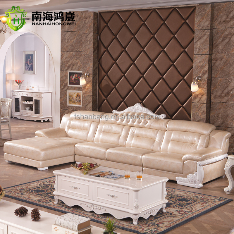 luxury european french style living room salon furniture i shape leather wooden corner sectional. Black Bedroom Furniture Sets. Home Design Ideas